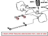 Toyota Land Cruiser 4.2D HZJ81 Import (1990+)  -  Rear Upper Trailing Arm Bush Kit (2 Pcs)